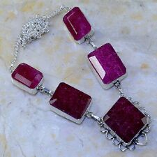 "Handmade Cherry Ruby Natural Gemstone 925 Sterling Silver Necklace 18.5"" K67515"