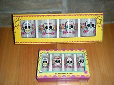 SUGAR SKULLS DAY OF THE DEAD TALL SHOT GLASSES GLASS + DOUBLE OLD FASHIONED SET!