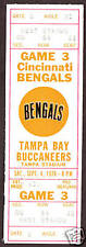 1976 CINCINNATI BENGALS  vs TAMPA BAY  Full Ticket Stub