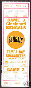 1976 CINCINNATI BENGALS  vs TAMPA BAY  Full Ticket Stub