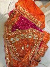 Indian Designer Rajasthani Bandhej Silk Saree with Gotta Patti Border Sari