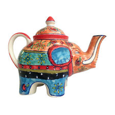 Beautiful Hand Painted Ceramic Elephant Shaped Tea Pot Fair Trade