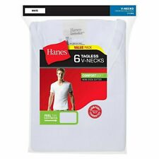 Hanes ComfortSoft/FreshIQ Men's (Size Small) 6-Pack: White T-Shirts (V-Neck)