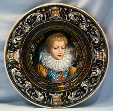 French Limoges Painted Enamel on Copper Large Charger/Bowl late 19th Century