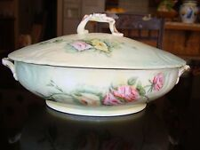 ANTIQUE C.F.H. LIMOGES HAND PAINTED TUREEN, ROSES