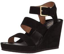 NEW Calvin Klein Women's Hailey Wedge Sandal Black Suede Size 7.5