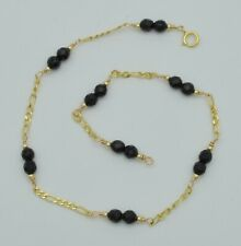black onyx Anklet bracelet 9- 10'' New Exquisite 14K Solid Gold 4mm Natural