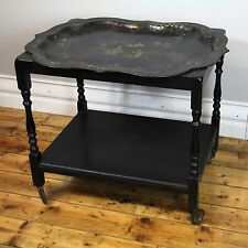BLACK LACQUER ORIENTAL ANTIQUE AUTO TROLLEY HAND PAINTED,  PEARL INLAY. C 1910