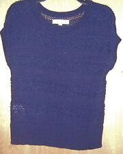Women's Ann Taylor Loft Navy Blue Short Sleeve Casual Sweater Shirt Blouse S