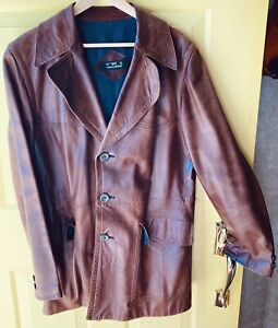 Cortefiel Leather coat Men's Size 44 Made in Spain