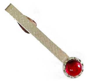 Vintage Textured Silver Tone Ruby Red Glass Cabochon Tie Bar Clip