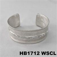Clear Rhinestone Hammered Design Silver Finish Open Cuff Wrist Bangle Bracelet