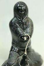 Soapstone Eskimo Figurine Fisherman Made in Canada by Aardvark Ice Fishing