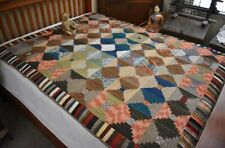Antique Hand Stitched Log Cabin Quilt w/ Pieced Piano Border & Homespun Back *