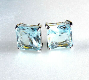 STUD EARRINGS SQUARE White GOLD Plated BIG 11mm AQUA Blue Simulated DIAMOND UK