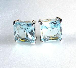 STUD EARRINGS SQUARE White GOLD Plated BIG 11mm AQUA Blue Simulated DIAMOND UK