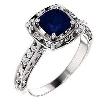 Certified 1.05Ct Blue Sapphire Cushion Cut Febulas Wedding Ring In14K White Gold