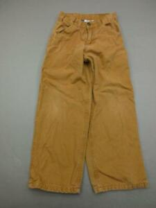 Carhartt Size 10 Boys Brown 100% Cotton Lined Carpenter Straight Jeans T849