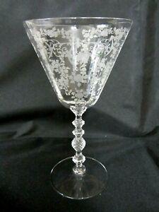 Cambridge Diane Etched 9oz Water Goblet #3122 Stem, Elegant Crystal