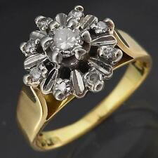 Vintage 70's Solid 18k YELLOW GOLD & PLATINUM 9 DIAMOND CLUSTER RING Sml Sz I1/2