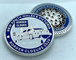 NSW Police Border Closure Coin, 1 x Coin, Shiny Silver, 42mm