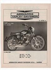 Pubblicità 1972 MOTO MOTOR AERMACCHI HARLEY DAVIDSON 125 DE LUXE advert werbung