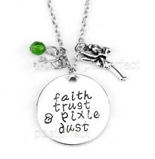 "FAITH TRUST & PIXIE DUST CHARM NECKLACE w/ Tinkerbell 18"" Disney Peter Pan Quote"