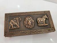 "ELEPHANT, HORSE, LION Rare Vintage Brass Top  Match Box Holder  2 x 4"""