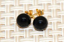 14k yellow gold black onyx ball push back stud earrings 5mm