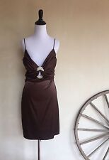 BETSY & ADAM by Linda Bernell Women's Dress Brown Solid Buckle Padded S Silk