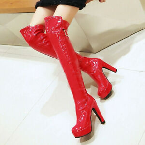 Sexy Women Patent Leather Over Knee Boots Block High Heel Platform Shoe Clubwear