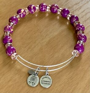 ALEX AND ANI Silver Tone PURPLE & CLEAR Beaded Bracelet