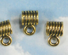 5 Gold Ringed Tube Bails Antiqued Tone Pendant Hangers Slides #P1605