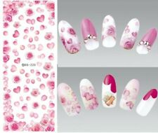 Nail Art Water Decals Stickers Transfers VALENTINES Day Pink Hearts Rose (DS220)