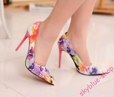 Womens High Heel Floral Printed Stiletto Printing Flowers Shoes Pumps Prom Shoes