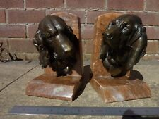 Antique Pink Marble Book Ends Springer Spaniel  & Hound Lecourtier
