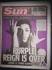 PRINCE - THE SUN NEWSPAPER DEATH OF PRINCE 22/04/16