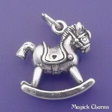 925 Sterling Silver 3-D ROCKING HORSE Toy Charm Pendant - lp1075