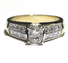 GIA 18k yellow gold 1.50ct princess diamond engagement ring 7.3g estate