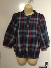 Dunnes Stores Navy/Wine Check Blouse. UK Size 12. Brand New Without Tags