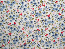 66x100 cm Stoff Baumwolle♥Blümchen hellblau rot♥Florencia Ökotex Blumen