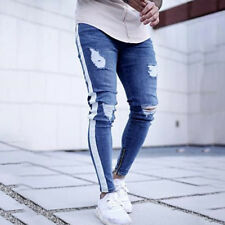 Men Striped Ripped Jeans Destroyed Frayed Skinny Slim Fit Denim Pants Trousers