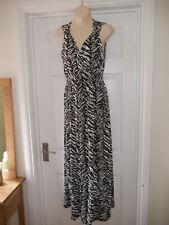 Ladies Black & White Animal Print Atmosphere Dress Size 8 Maxi Summer Length