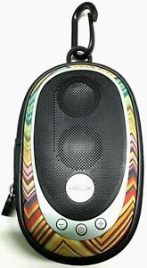HMDX Go Portable Iphone Ipod MP3 Speaker Rare Multi-Color Stripes AAA Batteries