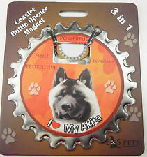 Akita dog coaster magnet bottle opener Bottle Ninjas magnetic