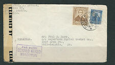 COLOMBIA 1945 CENSOR cover from PASTO to PHILADELPHIA USA