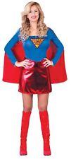Ladies Sexy Superhero Hero Superwoman TV Film Fancy Dress Costume Outfit 14-18