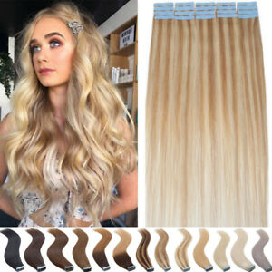 60PCS=150G Tape In Russian Human Hair Extensions Remy Skin Weft Full Head Ombre