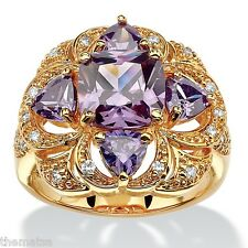 WOMENS 18K YELLOW GOLD GP AMETHYST FLORAL COCKTAIL  RING SIZE 6 7 8 9 10