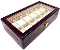 NEW Cherry Wood Finish 12 Watch Box Storage Chest Display Case